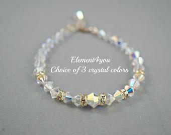 Bridal Bracelet, Swarovski Crystal Bracelet, Bridesmaids Gifts, Wedding Bracelet, Champagne bracelet, Maid of honor gift, Mother of bride