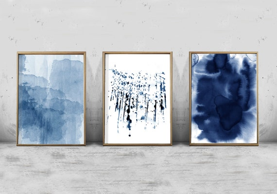 Marvelous Abstract Watercolor Set Minimalist Art Navy Blue Wall Art