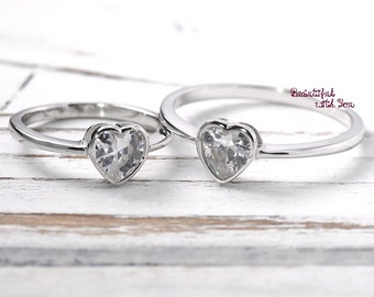 Mother and Daughter Ring, Mom and Baby Ring, Mother Daughter Jewelry, Baby Girls Mothers Ring Jewelry, Sterling Silver Cubic Zirconia Ring