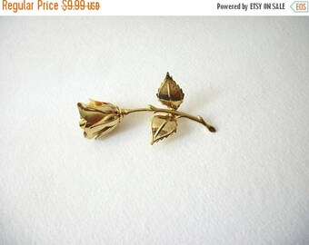 ON SALE Vintage Over Sized Surreal Gold Tone Rose Metal Pin 32417