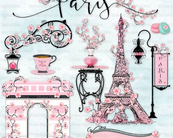 Paris in the Spring Cherry Blossoms | Pink Parisian Elements l Clipart Instant Dowload