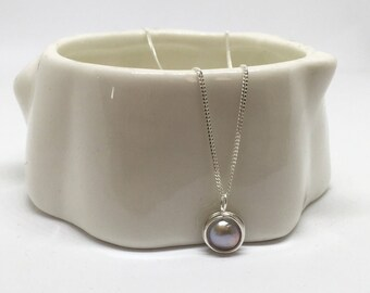Silver pearl necklace, 925 sterling silver pearl necklace, silver pearl pendant, bridal necklace, bridal jewellery, silver pearl jewelry