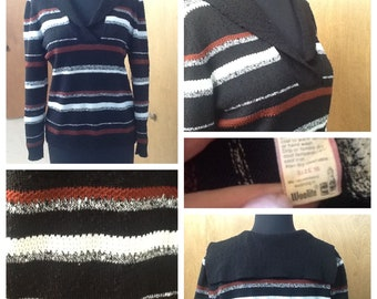 Black Sweater with Nautical Collar Marked a size 16 L XL