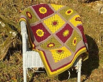 Wool, Alpaca Baby Blanket, Red, Green, Yellow and Grey Crocheted Baby Blanket, Granny Square Blanket, Handmade Blanket, Pram Blanket