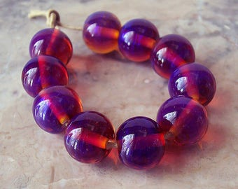 Purple Candy. Silver Glass Lampwork Beads (5 pcs). Purple Pink Lampwork Round Beads. Made to order.