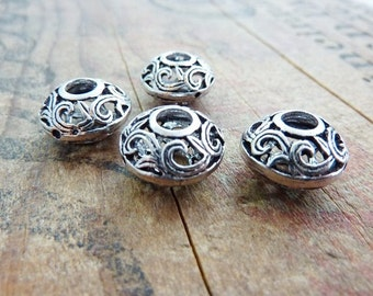 Silver Ornate Filigree Beads (2) IS407