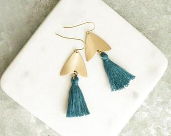 Blue Earrings, Blue Tassel Earrings, Natural Brass  and Tassel Earrings, Arrowhead, Arrow Earrings