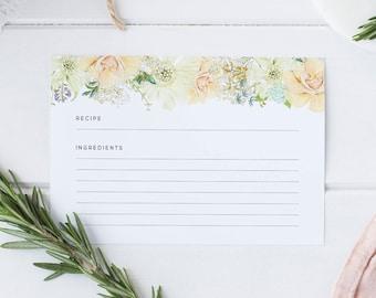 Delicate Floral Recipe Cards