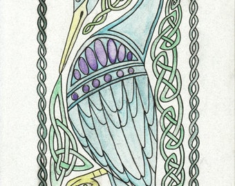 Celtic Heron - Original Celtic Style Watercolor
