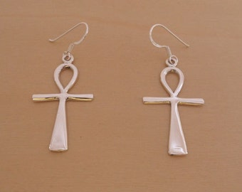 925 Sterling Silver Egyptian Ankh Cross Drop Earrings, Represent Key of Life