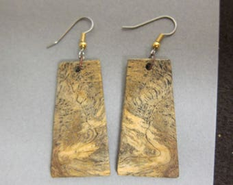 Exotic Wood Earrings Sindora Burl repurposed ecofriendly Handcrafted ExoticWoodJewelrynd