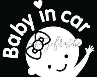 Girl Baby in Car on Board Child Infant Toddler Kid Children Vehicle Window Decal Die Cut Bumper Vinyl Sticker White