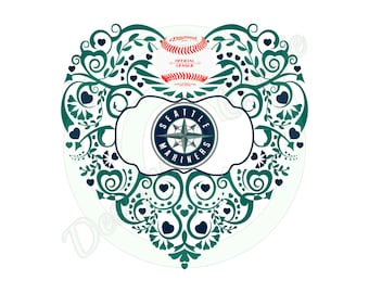 Baseball (Seattle) Ornate Heart