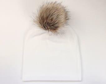 Ivory Faux Fur Pom Slouchy Beanie