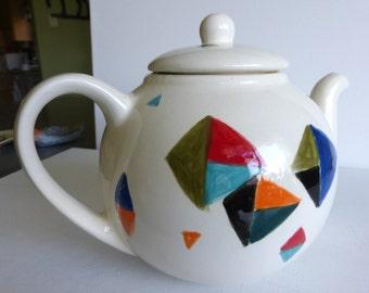 teapot ceramic white red teal funky teapot serving tea teapot collectibles dinnerware teapot tea