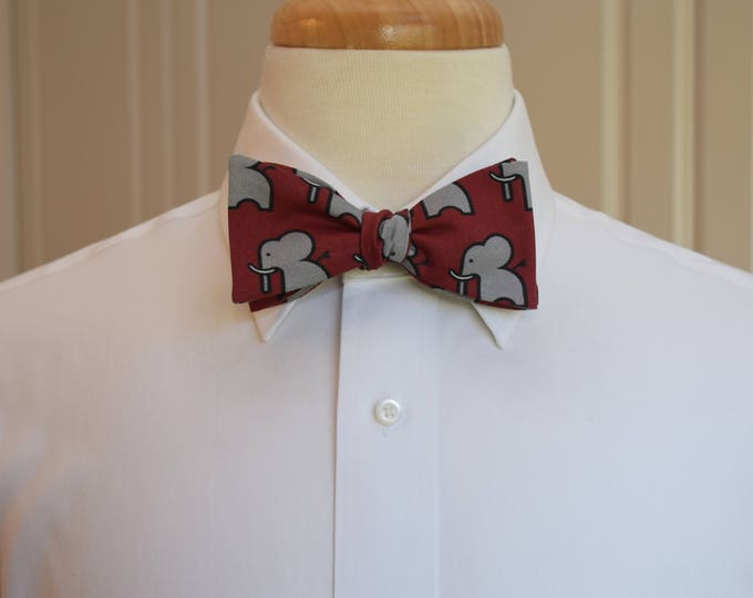 Men's Bow Tie, burgundy with gray elephants, zoo wedding bow tie, elephant lover gift, red/grey elephant bow tie, Republican elephant gift