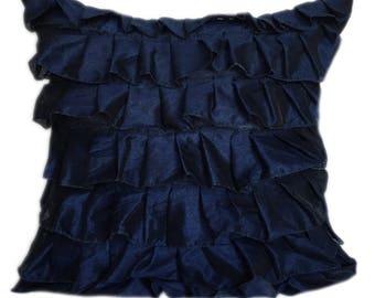 Navy Blue Pillow Cover, Minimalist Pillow, Ruffles Pillow, Housewarming Gift