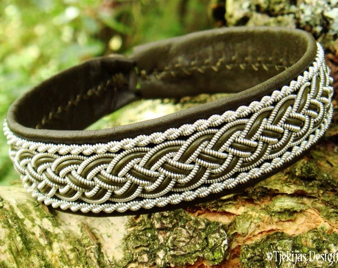 GIMLE Viking Bracelet Cuff   Handcrafted Sami Armband in Olive Green Leather, decorated with Pewter Braids   Unisex Norse Folklore Jewelry