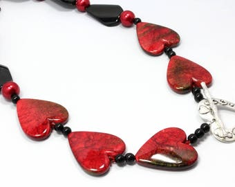 Bold Red and Black Heart Necklace, Valentines Necklace, Statement Necklace, Chunky Necklace, Gift for Her