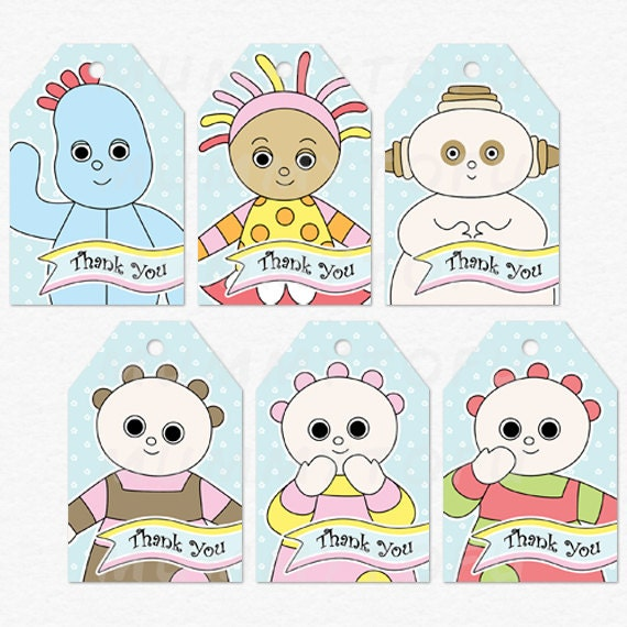 In the Night Garden Party Thank You Favor Tags Iggle Piggle