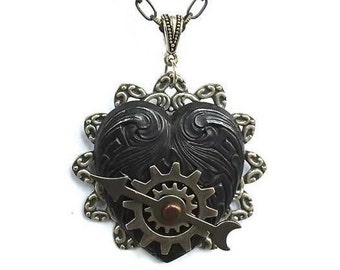 Steampunk Heart Necklace - Unique Interactive Steampunk Pendant - Heart Steampunk Pendant -  Unique Steampunk Jewelry - Mothers Day Gift