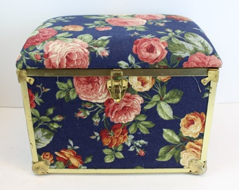 Upholstered Floral Small Chest case rose flower vintage