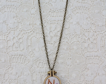 Hand embroidered necklace,Initial embroidered necklace,Monogram embroidery necklace,Mini hoop jewellery,Letter mini hoop embroidery necklace