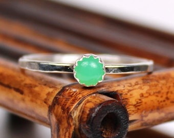 Chrysophase Ring, Gemstone Ring, Stackable Ring, Sterling Silver Ring, Handmade Ring
