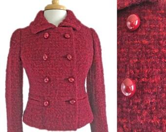 Vintage Jean Louis Scherrer PARIS Double Breasted Jacket 1960s MOD Burgundy Bespoke 60s Small Woven Wool Coat Jackie Kennedy