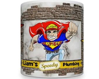 Plumber Mug. Personalised Plumber Mug. Funny Plumber's Mug. Mugs for Plumbers. Gifts for Plumbers. Plumbing Theme.