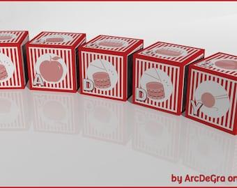Educational Red Digital baby ABC blocks - Alphabet -Papercraft Digital Toys by Arcdegra