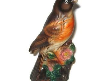 LARGE Vintage Porcelain Robin Bird FIGURINE Dogwood Blooms Japan Lefton Napco Spring Song Bird Bisque matt porcelain figure 7.5 inches