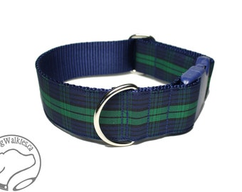 """Blackwatch Tartan Dog Collar - 1.5"""" (38mm) Wide - Navy Blue and Green Plaid - Martingale or Side Release -Choice of collar style and size"""
