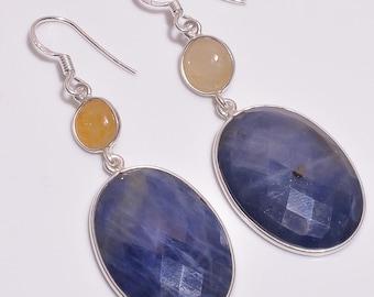 """925 Sterling Silver Earring: Natural Blue Yellow Sapphire Gemstone Rose Cut Oval Earrings 2.25"""" Drop Dangle Ear Wire Fine Earrings For Women"""
