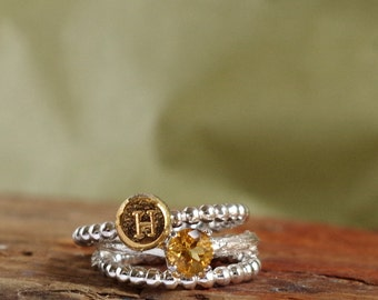 Citrine Ring Initial Ring Birthstone Jewelry Botanical Ring Jewelry November Birthstone Personalized Luxury Gift