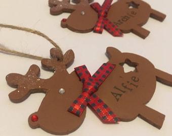 Reindeer decorations, personalised reindeer decorations, Christmas decorations, tree decorations, hanging Tree decoration,
