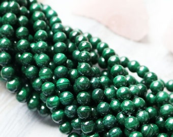6mm Malachite, Round Beads, AA Quality, High Quality, Full Strand, Green Beads, Wholesale,