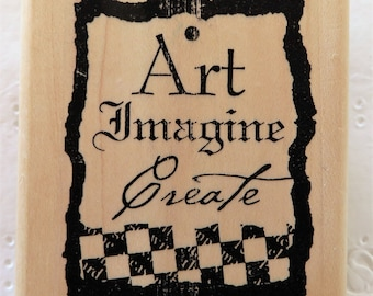 Art Imagine Create Rubber Stamp ~ Limited Edition ~ Checkered Tag ~ Saying Stamp