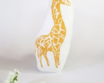 Giraffe Shaped Animal Pillow. Hand Woodblock Printed. Choose ANY Color. Made to Order.