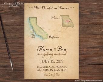 Custom Wedding Map, Vintage Watercolor Invitation, Destination Wedding, Elopement Announcement, Save The Date, Reception, Deposit