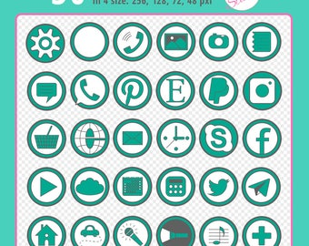 Set of 30 round digital social media icons on a transparent background, 4 sizes: 256 px, 128 px, 72 px, 48 px in web resolution 72 dpi