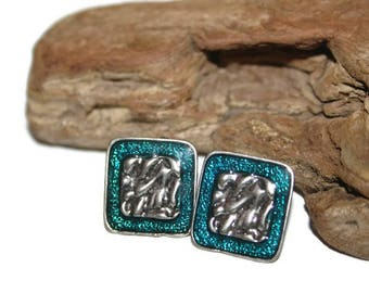 Translucent Blue Enamel Earrings, Large Square Studs, Statement Earrings of the 1980s, 1980s Earrings, 80s Earrings, Fashion Jewelry