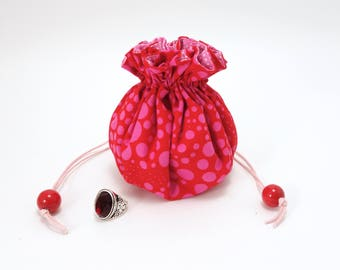 Red jewelry drawstring pouch / Travel jewelry bag / 8 pocket organizer / Stuffed ring holder / Pink dots on bright red modern print fabric