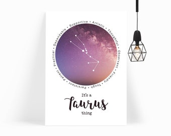Taurus Printable - Taurus Constellation - Taurus Wall Art - Taurus Print  - Taurus Gift - Astrology Gift - Taurus Art - INSTANT DOWNLOAD