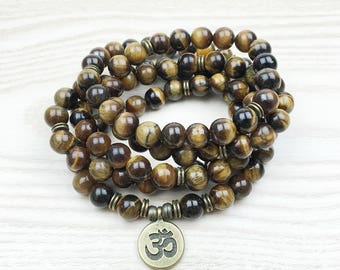 Tiger's Eye Mala 108 Bead Necklace Bracelet Spiritual Stone Jewelry Om ॐ SM0021