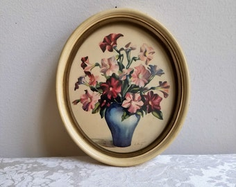 Vintage Flowers Vase Art Print in Oval Frame, Floral Still Life Picture by L. Hart, Shabby Cottage Bohemian