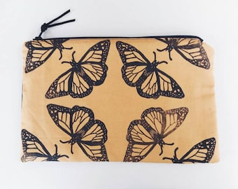 Handprinted Monarch Butterfly Pouch | Linocut Handmade Bag | Botanical Nature Print | Gifts for Her
