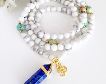 108 Mala, Mala Necklace, Mala Beads, Mala, Prayer Beads, 108 Mala Beads, Yoga Necklace, Meditation Beads, Howlite Mala, Healing Crystals