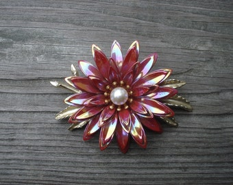 Flower Jewelry Brooch Pink Faux Pearl Gold Tone 02328