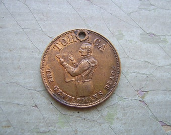ON SALE - A Rare Antique Victorian Token/Coin/Medallion/Brass Farthing - 'Tohpaca The Gentleman's Brace' - 1800's.